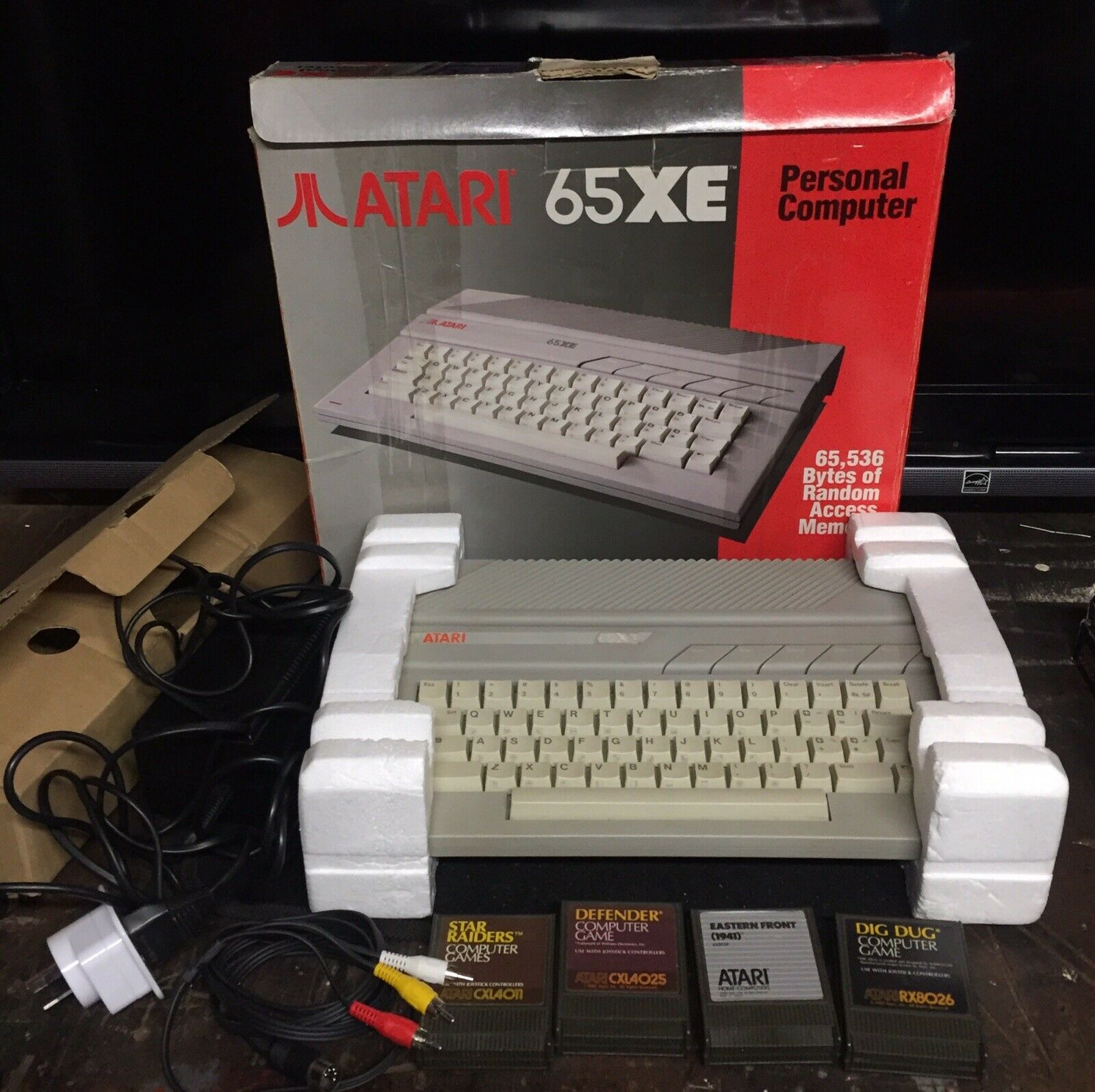 Computer Games - Atari 65XE Computer boxed + AV games Dig Dug Defender Star Raiders 400 XE XL 800