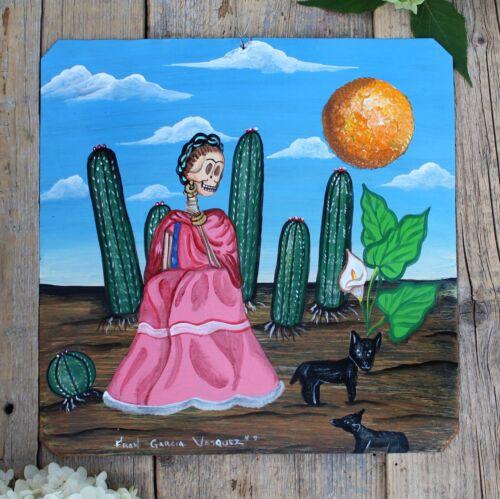 Day of the Dead Tin Retablo Frida Kahlo Pet Dogs Cactus Oaxaca Mexican Folk Art