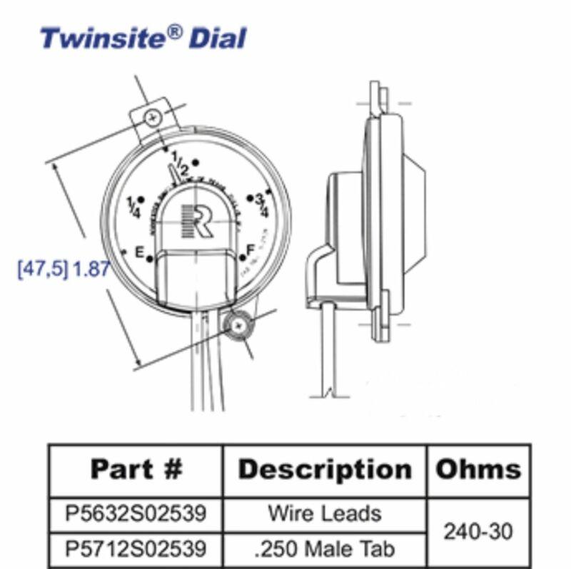 5632S02539P Rochester Gauges Jr. TwinSite Dial Capsule (P5632S02539, 5631S02539,