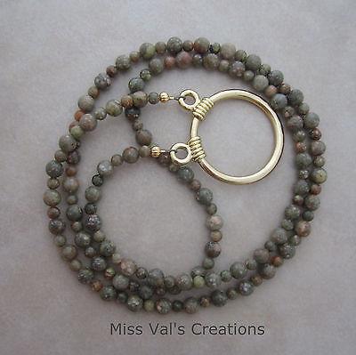 Handcrafted autumn jasper gold necklace eyeglass chain loop holder lanyard