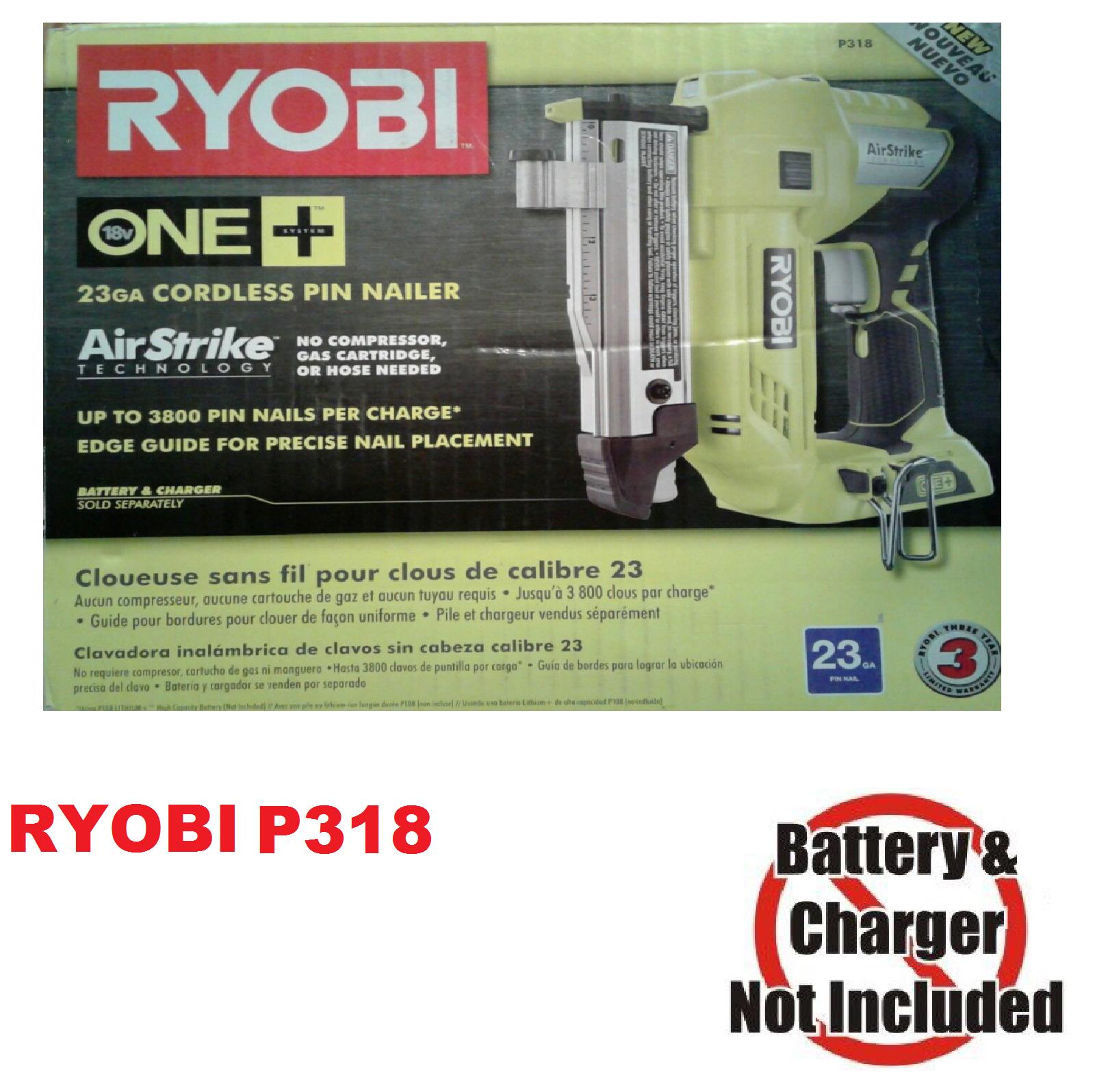 Ryobi 18V AirStrike 23-Gauge Cordless Pin Nailer Nail Gun -