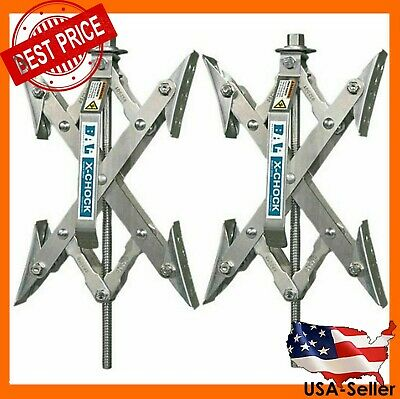 2 Trailer Camper RV X-Chock Wheel Stabilizer 1 Ratchet Handle Tire Locking Chock