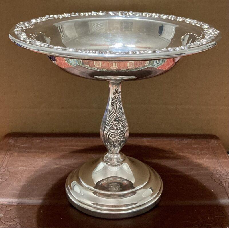 "Vintage Sheridan Silverplate 6"" Tall Pedestal Compote ""Rose Scroll"" Pattern"