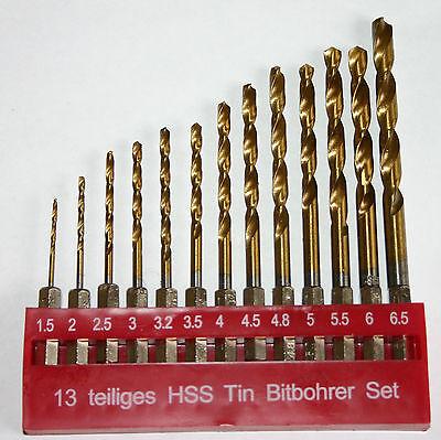 13 tlg bit bohrer set hss tin f bithalter 1 5 6 5mm. Black Bedroom Furniture Sets. Home Design Ideas