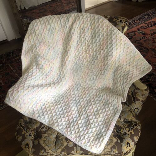 HAND KNITTED BABY BLANKET FOR CRIB PRAM OR CAR SEAT FOR BABY GIRL OR BOY EX COND - $10.00