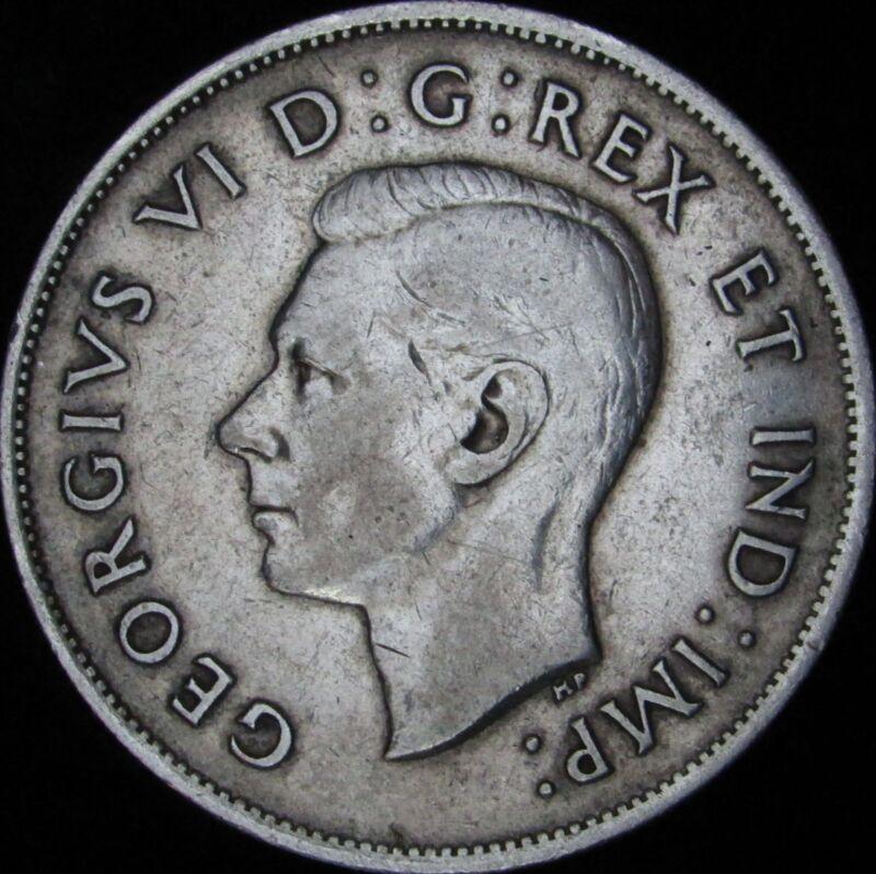 1939 Canada Silver 50 Cents (Fifty, Half) - KM# 36 - JG - VF+