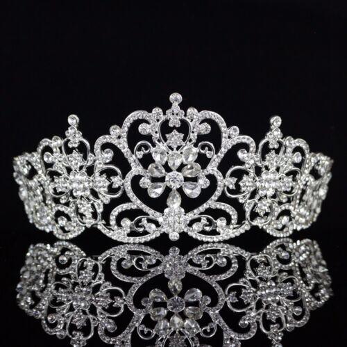 Floral Austrian Crystal Rhinestones Tiara Crown Bridal Pageant Prom Party T27