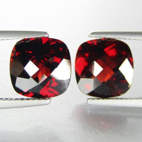 10.26Cts Natural Glorious Red Garnet 10mm Cushion Checker Matching Pair Gemstone