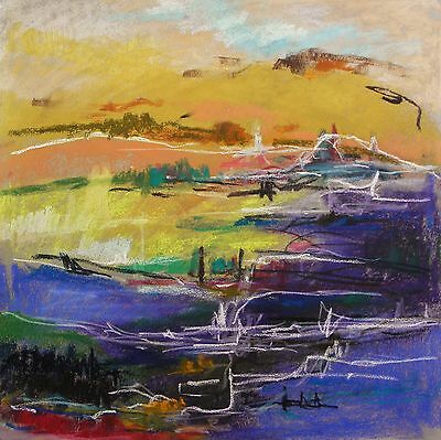 Original Abstract Landscape Pastel Painting JMW art John Williams Expressionism
