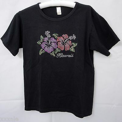 Womens Black Hawaii T Shirt Hibiscus Flowers 100  Cotton Size S