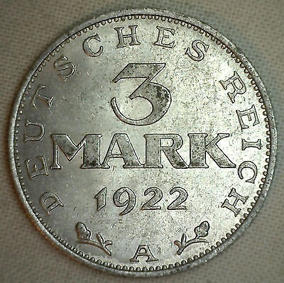 1922 A Aluminum 3 Mark Weimar German Coin Almost Uncirculated AU Germany #P