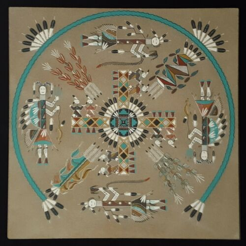 Cecil Myerson Navajo Large Sand Painting - 1982 State Fair Winner