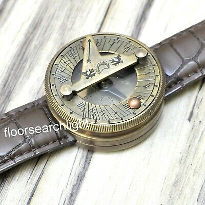 Brass Sundial Compass Antique Style Nautical Wrist Watch Type Marine Working