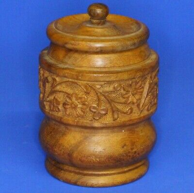 Vintage turned wooden carved treen pot /jar, leaf floral pattern, H:10cm [21524]