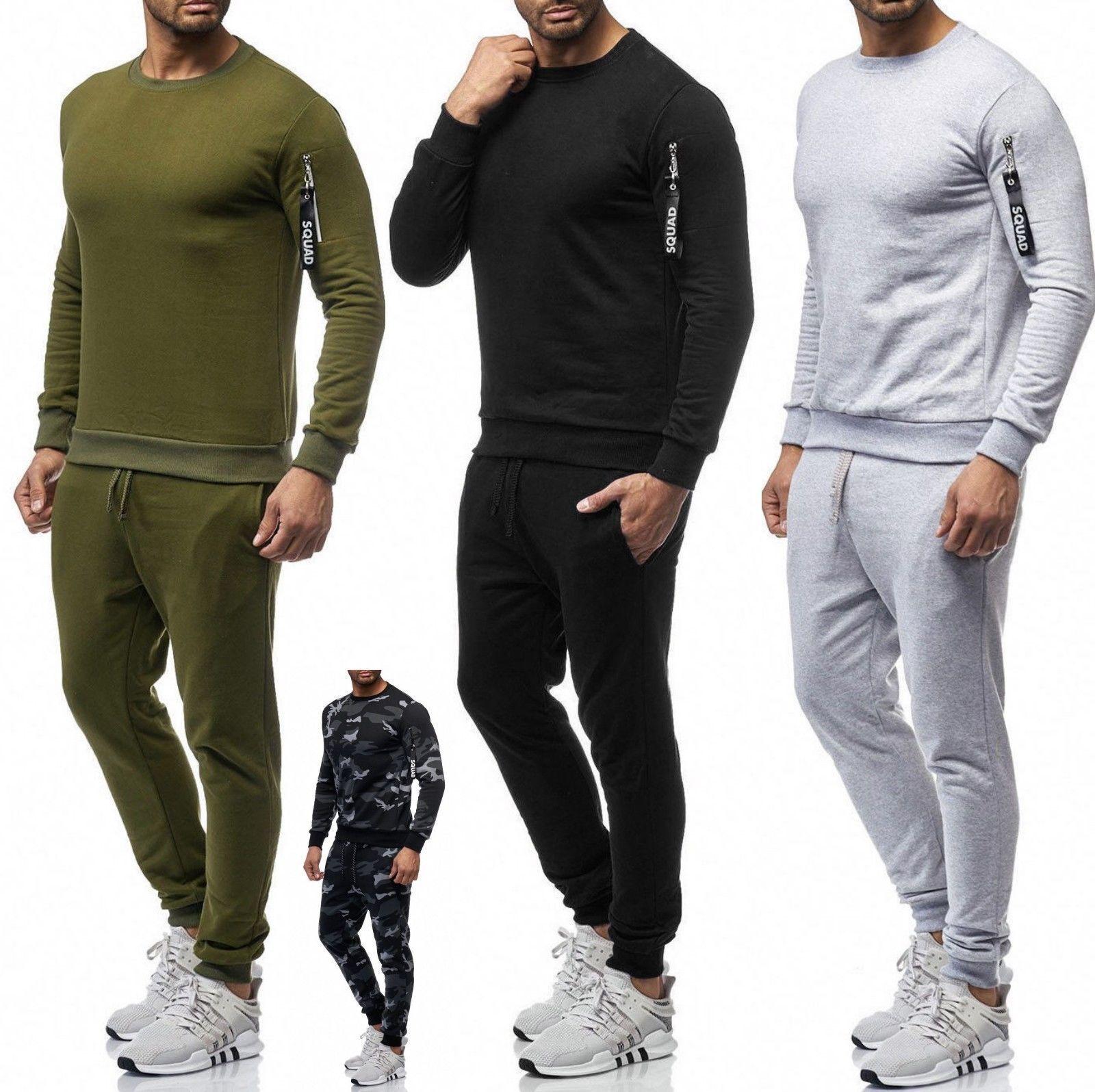 Herren Sportanzug Basic Squad Anzug Jogginganzug Jacke Hose Camo 0962