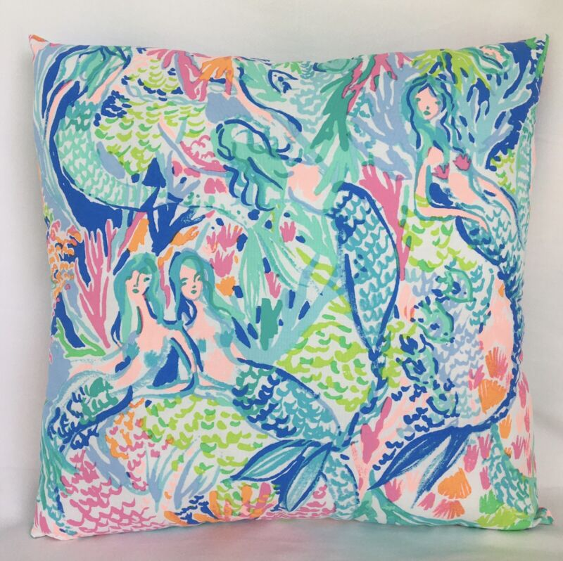 """Lilly Pulitzer 16""""x16"""" Toss Pillow In """"Mermaid's Cove"""" Handmade New"""