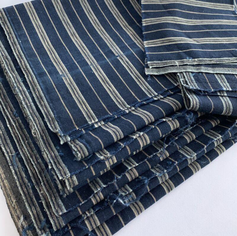 Japanese Vintage Kimono Scraps 8 Pieces Valued Set Indigo Blue Stripes Boro