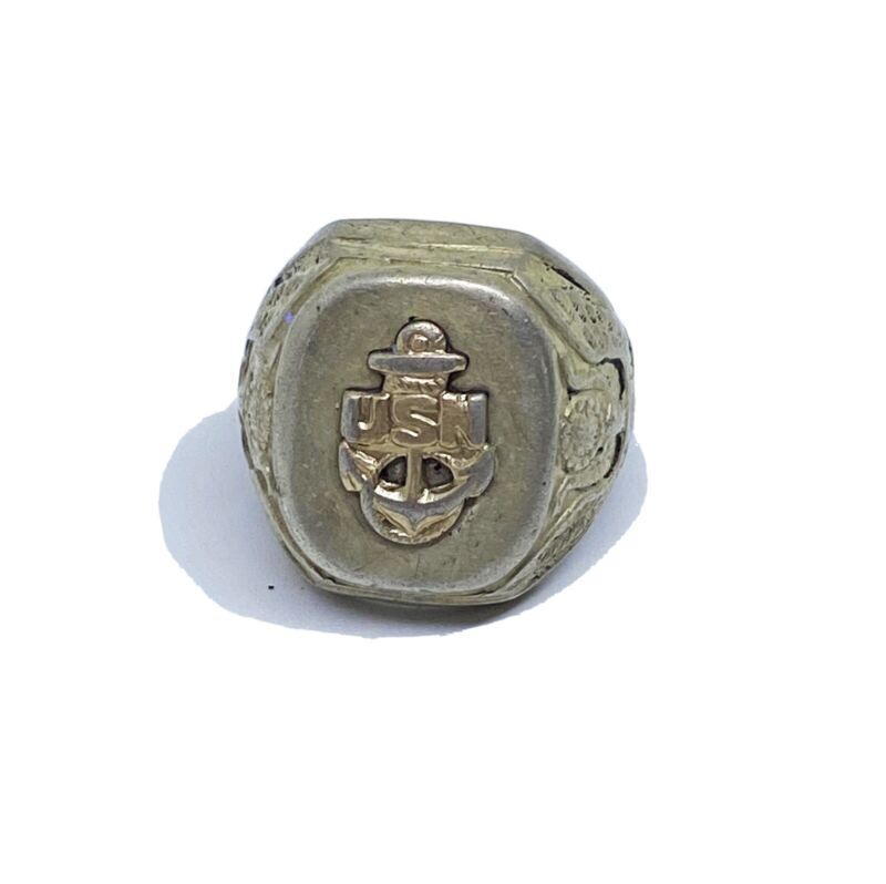 WW2 Era Sterling Silver USN Anchor United States Navy Men's Signet Ring Size 9