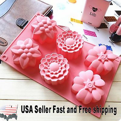 6 Cavity Flower Shaped Silicone DIY Handmade Soap Mold Muffin Cup Cake US Seller