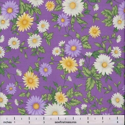 - Flower of the Month DAISY PURPLE April Northcott Fabric By the FQ - 1/4 YD
