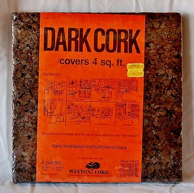 - VTG 1983 Dark Cork Wall Paneling *4 Panels* 12