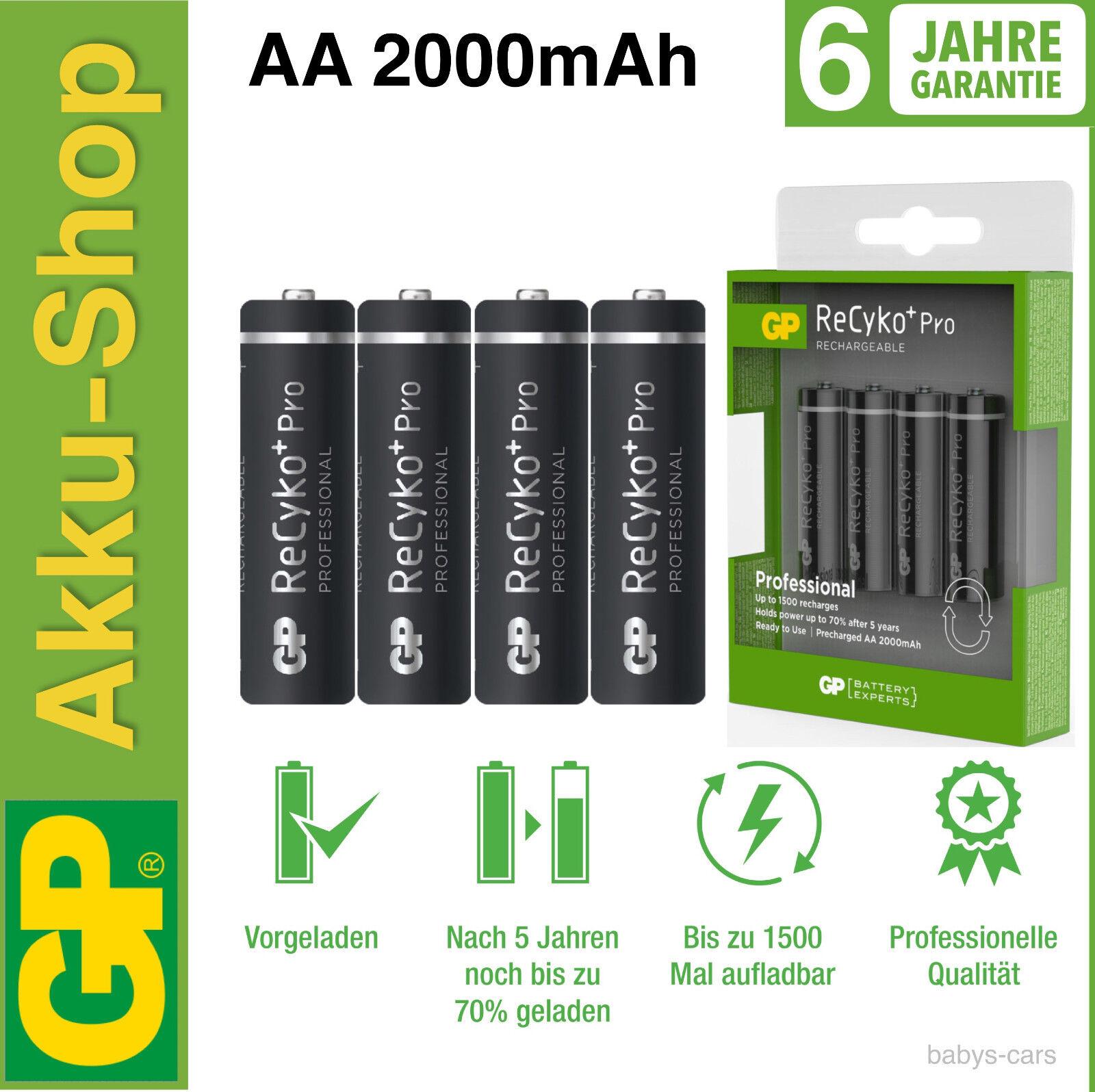 Pro NiMH-Akku 1x4 GP ReCyko+ 2000 mAh Akku AA Mignon Akku Batterie Batterien