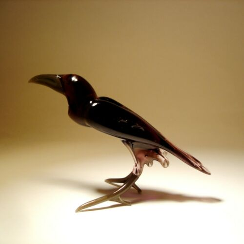 Handmade Blown Glass Figurine Art Bird Raven CROW
