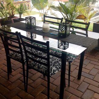 Indoor/outdoor Glass Top U0026 Steel Dining Table U0026 4 Chairs Part 78