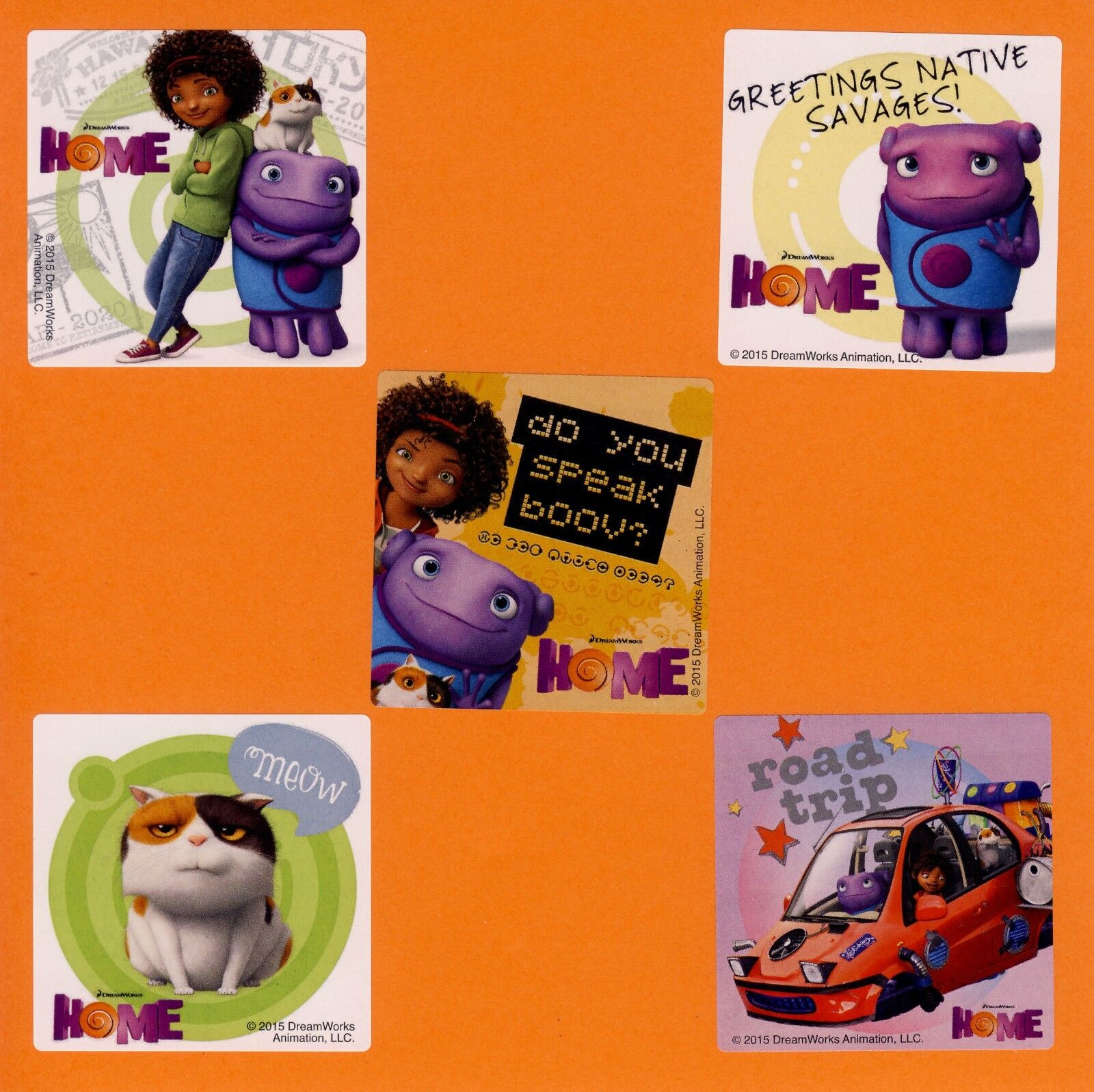 15 DreamWorks Home Movie - Large Stickers - Party Favors - B