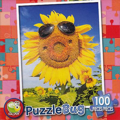 "Jigsaw Puzzle HAPPY FACE SUNFLOWER 100 Piece 8.75"" x 11.25"" Puzzlebug"