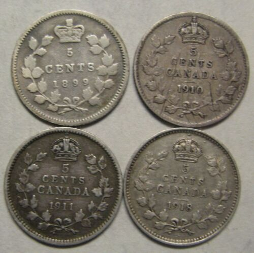 Lot of 4 Canada Silver 5 Cents 1899,1910,1911,1918 Take a Look