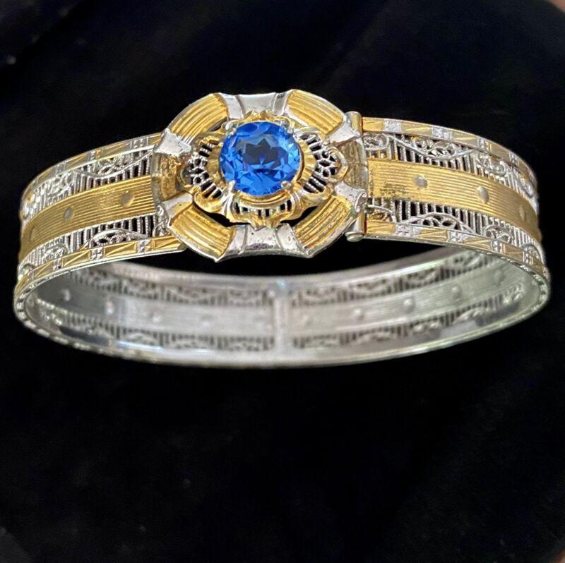 Vintage JJ White Gold Filled Filigree Blue Topaz Rhinestone Bracelet c1933