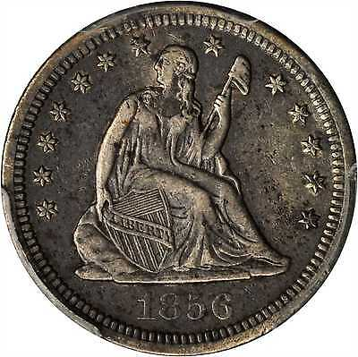 1856 S LIBERTY SEATED QUARTER. EF 40 PCGS.