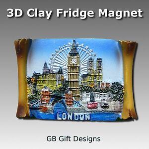 3D London Fridge Magnet Big Ben Tower bridge London Eye Collage Gift Souvenir