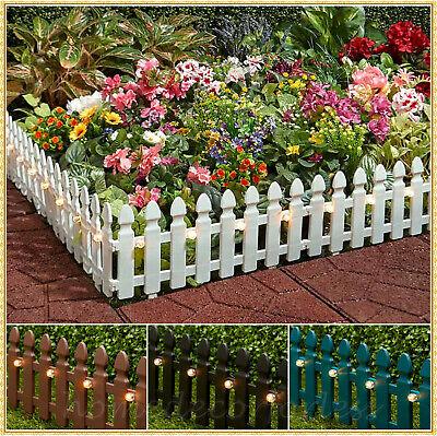 6-FT Solar Border Picket Fence Panels Flower Bed Light Pathway Lawn Edge Garden Green Border Fence