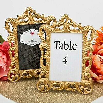 Gold Wedding Table Numbers (Gold Baroque 4x6 Photo Frame Table Number Holder Wedding Decor)
