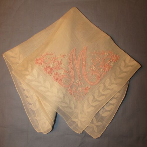 MADEIRA TYPE EMBROIDERED LINEN HANDKERCHIEF, M MONOGRAM