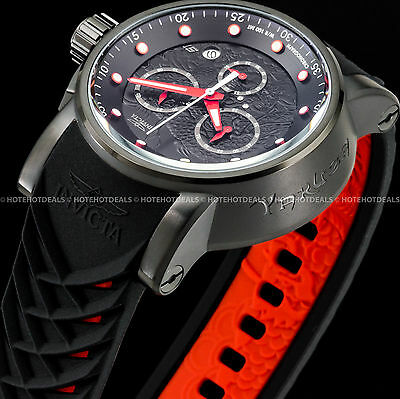 Invicta 48mm S1 Rally Dragon Yakuza Japanese Chronograph Black n Red PU SS Watch