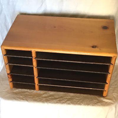 Vtg 70s Mid Century Wood Desk 19x10 Organizer Paper File Sorter Adj Shelf10slot