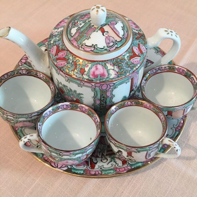 Vintage Chinese Hand-Painted Famille Rose Medallion Porcelain Tea Server Set (4)