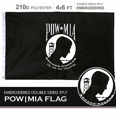 4x6' 2 Ply Polyester - POW MIA Flag 210D Embroidered Polyester 4x6 Ft - Double Sided 2ply