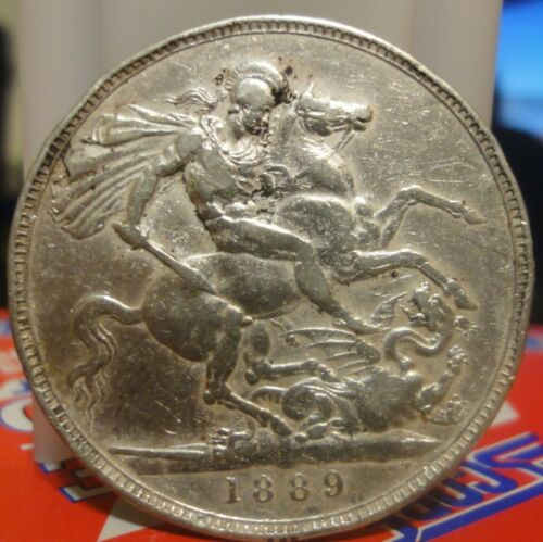 1889 Great Britain Crown KM# 765 St. George Slaying Dragon. Large Silver Crown