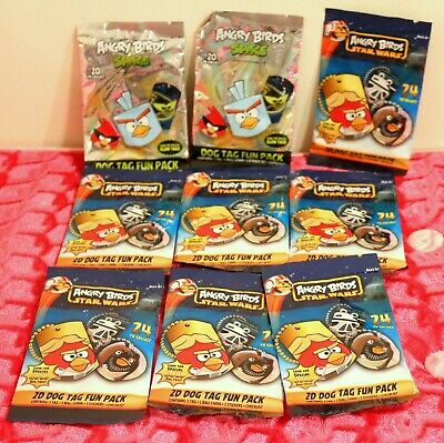 ❤️NEW 9 Angry Birds 2D Dog Tag Fun Pack Star Wars Space Blind Bag LOT❤️ - Angry Birds Blind Bags