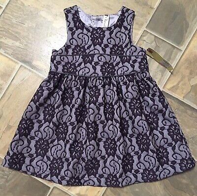 Cherokee Toddler Girls Holiday Dress Purple Lace Overlay Sleeveless 3T NWT