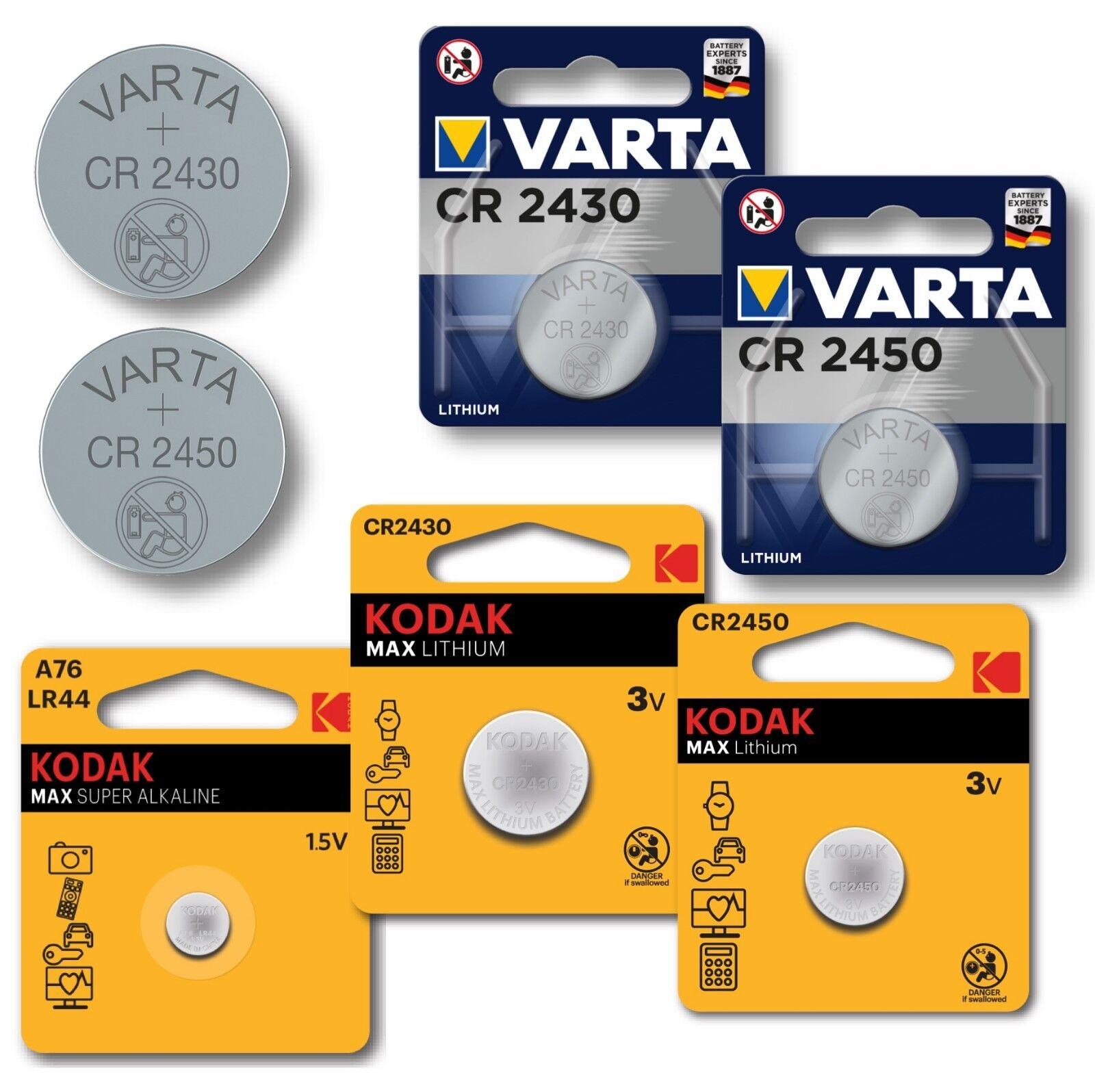 Kodak/Varta 1,5-3V LR44, CR2430, CR2450 im Blister/Bulk Batterien Knopfzellen