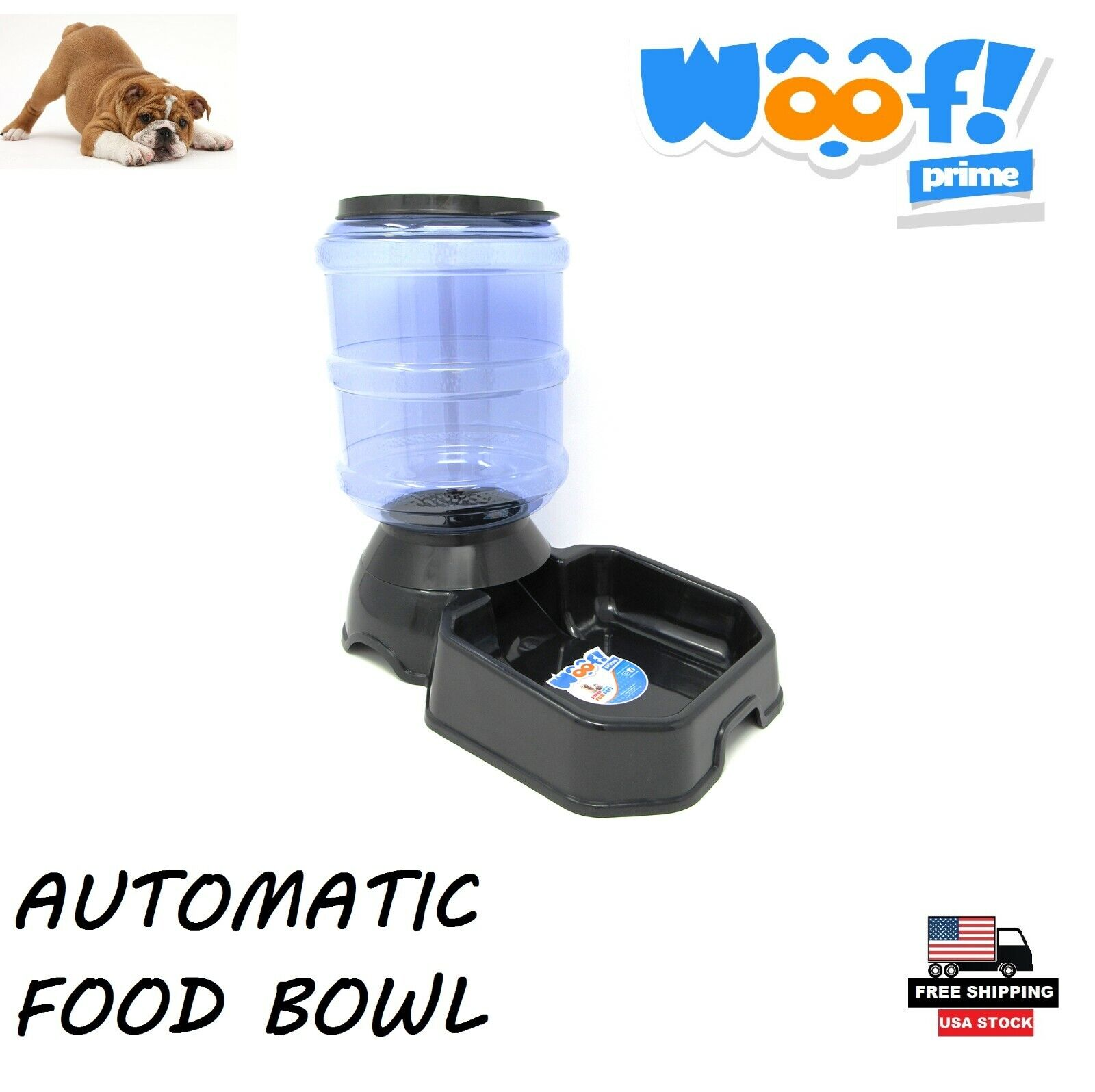 Automatic Pet Food Dispenser Black Color For Dogs Cats Woof! Prime