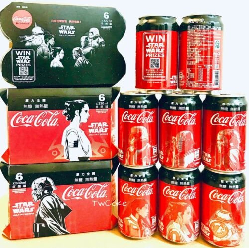 2019 Star Wars 6 cans set from Taiwan coca coke cola cans