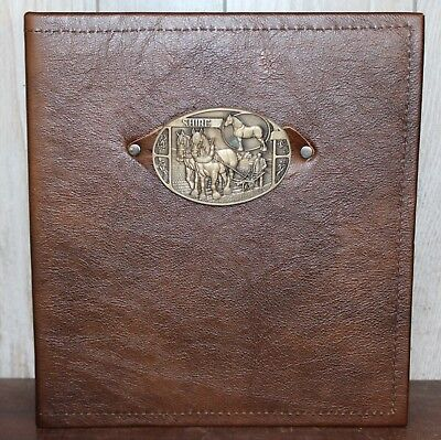 Vntage Solid Brass Shire Horse Buckle Leather 3 Ring Binder 80 Pic Photo Album