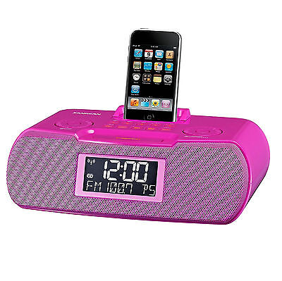 FM-RBDS / AM / Aux-in Digital Tuning Atomic Clock Radio with iPod Dock RCR-10 PK