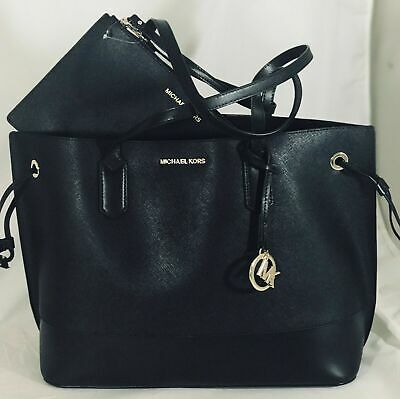 NWT Michael Kors TRISTA Large Drawstring Tote Black Leather Bag with Pouch d3f7fc0967b22